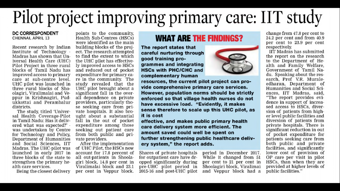 Pilot project improving primary care: IIT study